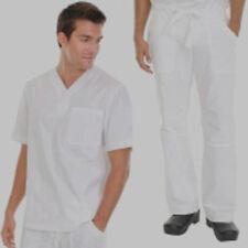 Riche en Coton Unisexe Medical Scrub Costume médecins/infirmières blanc cassé top & Trs