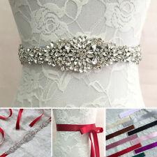 Delicated Bridal Sash Belt Wedding Dress Belt Rhinestone Satin Crystal Belt Sash