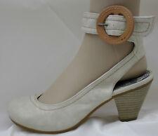 Slingback BeigeBuckle  Wood Style Heel Ladies  Court Shoes