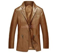 Retro Mens Leather Winter Coat Warm Business Dress Trench Jacket Coat Parkas New