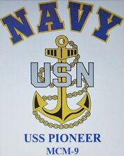 USS PIONEER   MCM-9* MINE COUNTERMEASURES* U.S NAVY W/ ANCHOR* SHIRT