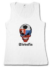 SLOWAKIA FOOTBALL SKULL FLAG DAMEN TANK TOP Flagge Schädel Fußball Slowakai