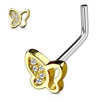 Nasenpiercing Nasenstecker Nasenring Edelstahl Gold Schmetterling Kristalle