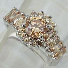 Jewelry Gold Filled Lady Gift Ring K1081 Size6 7 8 9 Gallant Orange Citrine Gems