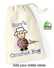 Personalised Printed Cotton Drawstring Crochet Bag Wool Storage Pattern Gift