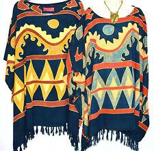 New ETHNIC Poncho Top Blouse Tunic Kaftan Plus Bold Hippie Fancy Summer Beach