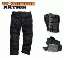 Scruffs Trabajo Combate Negro Comercio Pantalones W30-40 Carga Pantalones Gratis