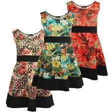 Nouveau femme d'été de courbe imprimés floraux Robe Patineuse Plissée 8-26