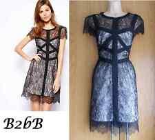 New Karen Millen black multi delicate lace evening party dress UK 10 12 14 £180