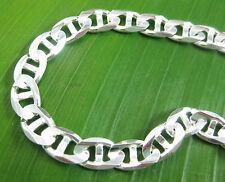 MADE IN ITALY 925 sterling silver 7mm MARINER link Bracelet 18cm to 23cm -UNISEX