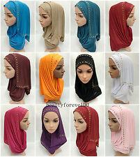 Women's Hot Drill Muslim Caps Hijab Long Scarf Islamic Wrap Arab Shawl