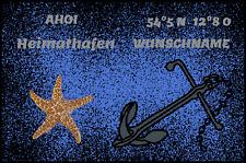 Fußmatte Schmutzfangmatte waschbar Gummirand 90x60 cm Wunschname Maritim Anker