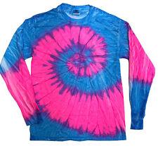 Flo Blue & Pink Long Sleeve Tie Dye T-Shirt Adult S - 3X 100% Pre-Shrunk Cotton