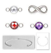 925 Sterling Silver Interchangeable Infinity Birthstones Cuff Bangle Bracelet