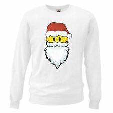 Adults White ACID Face Santa Sweatshirt Christmas Gift Techno Rave Sweats