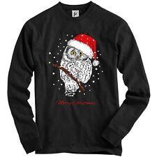 Christmas Owl Wearing Santa Hat Sat In Tree Snowing Adult Christmas Jumper