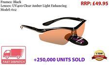 RayZor Black Sports Wrap Sunglasses Uv400 Light Enhancing Amber Lens RRP£49 (612