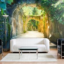 VLIES FOTOTAPETE 3D Tunnel grün Natur Landschaft TAPETE Stein WANDBILD XXL