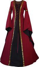 Mittelalter Karneval Gothik Gewand Kleid Kostüm Robe Anna Bordeaux-Schwarz XS-60