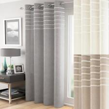 One Single ARRAN Plain Stripe Voile Eyelet Header Curtain Panel 3 Colours