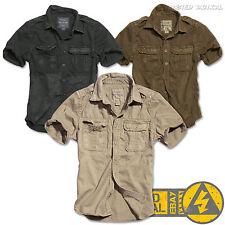 Surplus Vintage Militare da Uomo Manica Corta Casual Cotone Camicie, ARMY Tactical