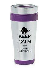 Stainless Steel Insulated 16oz Travel Mug Coffee Cup Keep Calm Love Elephants