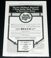 1918 OLD WWI MAGAZINE PRINT AD, HELCO STEERING CONTROL LOCKING UNIT!