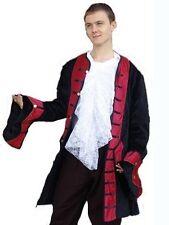 Kutscher Mantel Gehrock Gothic Mittelalter Pirat Lord Mandragor S-XXXL schwa/rot