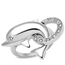 W032 SIMULATED DIAMOND RING WOMENS RHODIUM DOLPHIN CIRCLE ANIMAL PRETTY