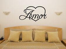 LOVE in spagnolo di apprendimento CUORE motto Camera Da Letto Camera Decalcomania Muro ARTE Adesivo FOTO