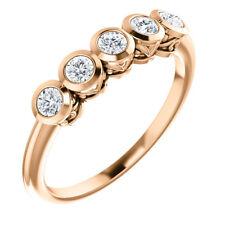 Charles & Colvard Moissanite® Five-Stone Bezel Set Ring In 14K Rose Gold