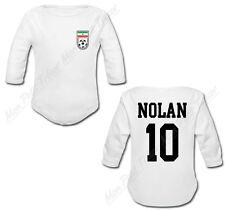 Body Bébé Football Maillot Iran personnalisé avec prénom et numéro au dos
