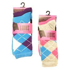 2 Pairs Ladies Argyle Design Multicoloured Qualified Ankle Socks UK 4-7