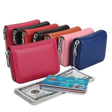 6a980f51031 Moda Mujeres Hombres Cartera Soporte Tarjeta de Crédito de Cuero Genuino  Cremallera Bloqueo de RFID