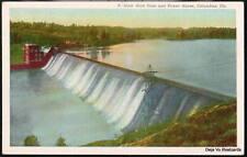 COLUMBUS GA Goat Rock Dam & Power House Vtg Linen Georgia Postcard Roadside PC