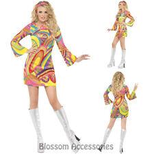 CL462 Flower Power 60s 70s Go Go Retro Hippie Groovy Hippy Disco Fancy Dress Cos