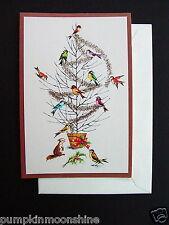 Vintage Unused Fravessi Xmas Greeting Card Sweet Birds Decorating the Bare Tree