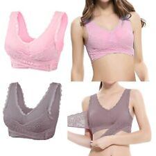 Women Front Cross Bra Adjustable Side Buckle Lace Vest Wireless Sports Bras Tops