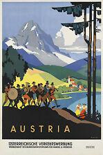 vintage Autriche Art Déco Affiche de voyage tailles A1 A2 A3 A4