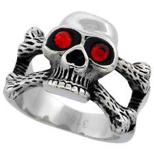 Stainless Steel Biker Skull Ring w/ Flaming Red CZ Stones Eyes on Cross Bones
