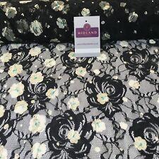 "Floral Black Vintage lace evening, dress fabric 58"" Wide"" M186-34 Mtex"