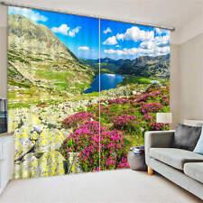 Blue Mountain Lake Spring Filed 3D Blockout Photo Printing Curtains Draps Fabric