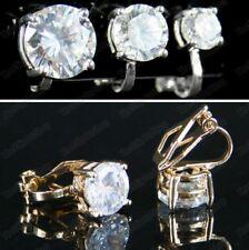 Clip en 6 mm 8 mm 10 mm CZ Pendientes Cubic Zirconia Cristal Cortado Chapado en Oro/plata