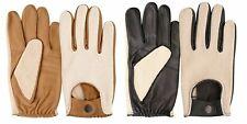 Real Leather Driving Gloves Car Van Bus Chauffeur Fashion Vintage Button Fasten