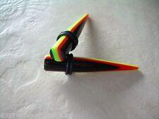 1PC - Pair Acrylic Rasta Ear Plug Tapers Gauges 0g Black Red Yellow Green