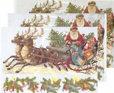 Chromo EF Découpis Traîneau Père Noël 7194 Embossed Illustrations Santa Claus