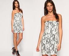 womens Karen Millen Strapless Lace Dress Ivory Cream Black UK Size 14 16 42 44