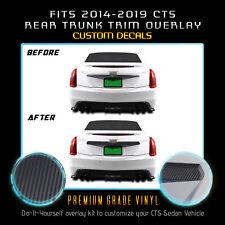 For 2014-2019 Cadillac CTS Rear Trunk Trim Chrome Delete Kit Matte Carbon Fiber