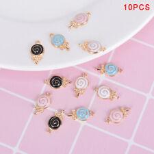 10Pcs/Lot Enamel Alloy Lollipop Candy Charms Metal Pendants DIY Jewelry Findings