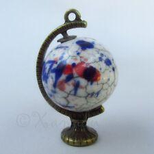 Globe Pendants - Wholesale Antiqued Bronze Porcelain Charms C7650 - 1, 2 Or 5PCs